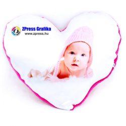 Egyedi fényképes plüss szív béléssel együtt 28x28 cm  párna - pink